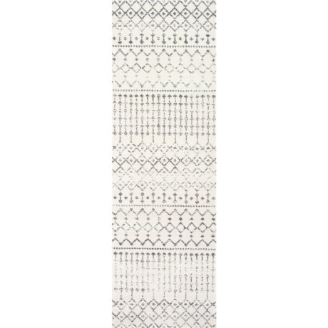 nuLOOM Moroccan Trellis Floor Runner - 2x12', Cream in Cream