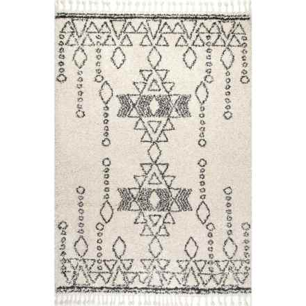 """nuLOOM Shag and Flokati Moroccan Area Rug with Tassels - 5'3""""x7'7"""" in Off White - Closeouts"""