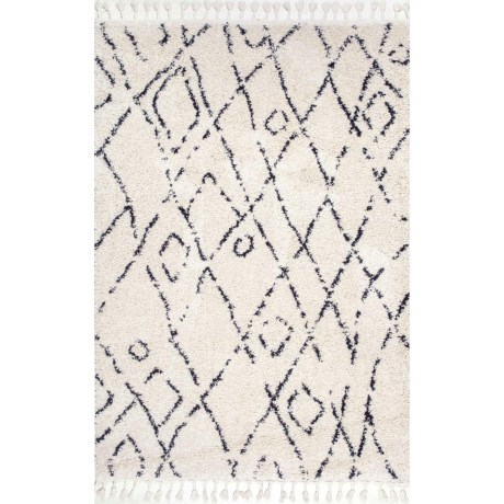nuLOOM Shag and Flokati Moroccan Scatter Accent Rug - 4x6' in Off White