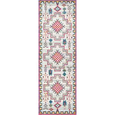 nuLOOM Silver Southwestern Look Floor Runner - 2x8' in Silver - Closeouts