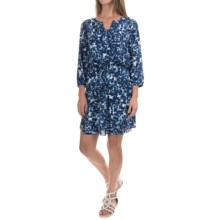 NYDJ Alexa Dress with Removable Shapewear Lining - 3/4 Sleeve (For Women) in Midnight Blue Fern - Closeouts