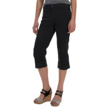 NYDJ Ariel Diamond Eyelet Trim Stretch Capris (For Women) in Black - Overstock