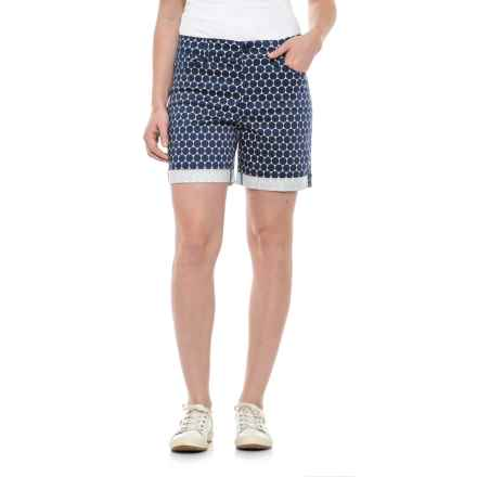 NYDJ Avery Roll Cuff Denim Shorts (For Women) in Navy Optical Do - Closeouts