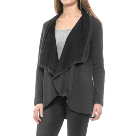 NYDJ Cascade French Terry Cardigan Jacket - Open Front (For Women) in Black - Closeouts