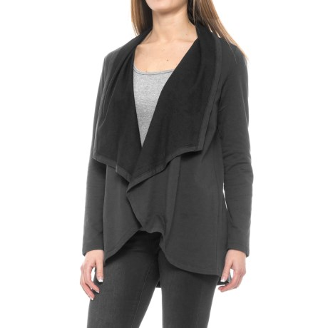 NYDJ Cascade French Terry Cardigan Jacket - Open Front (For Women) in Black