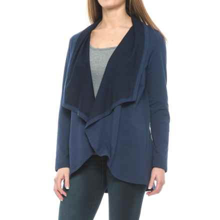 NYDJ Cascade French Terry Cardigan Jacket - Open Front (For Women) in Navy - Closeouts