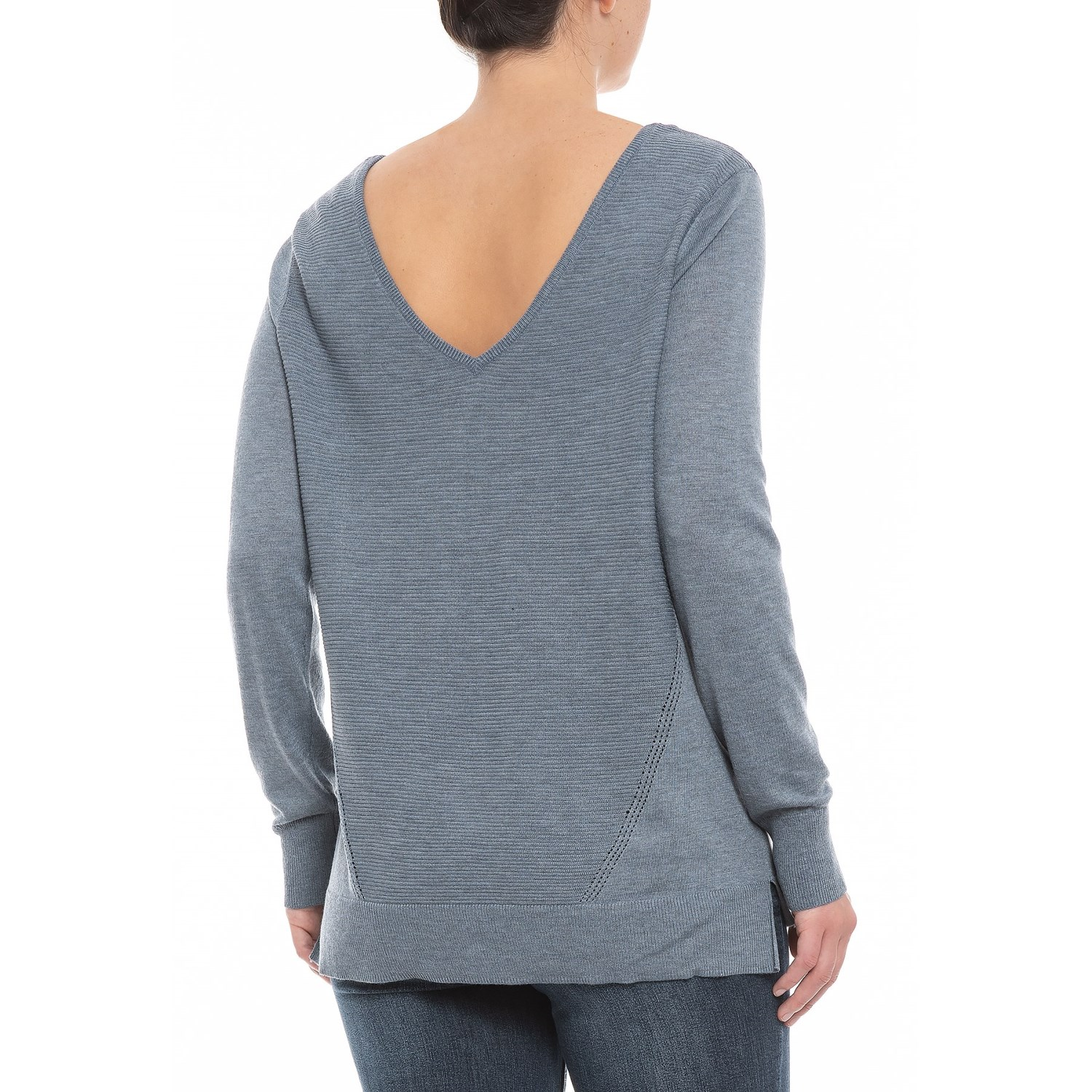fa7764b1fc279d NYDJ Chambray Heather Double V-Neck Sweater (For Women)