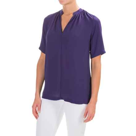 NYDJ Double Georgette Blouse - Short Sleeve (For Women) in Midnight - Closeouts