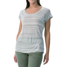 NYDJ Etched Stripe T-Shirt - Short Sleeve (For Women) in White - Closeouts