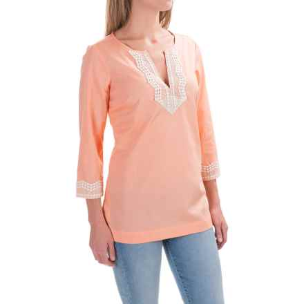 NYDJ Fit Solution Lace-Embellished Tunic Shirt - Built-In Shapewear, 3/4 Sleeve (For Women) in Sorbet - Closeouts