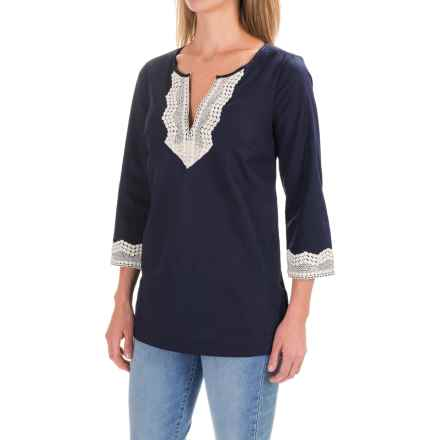 NYDJ Fit Solution Lace-Embellished Tunic Shirt - Built-In Shapewear, 3/4 Sleeve (For Women) in Washed Indigo - Closeouts