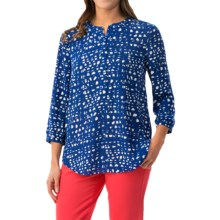NYDJ Graphic Lattice Blouse - 3/4 Sleeve (For Women) in Azul - Closeouts