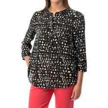 NYDJ Graphic Lattice Blouse - 3/4 Sleeve (For Women) in Black - Closeouts