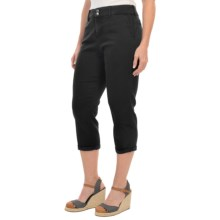 NYDJ Izzie Slick Twill Capris (For Women) in Black - Closeouts