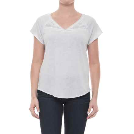 NYDJ Jersey Knit Lace Trim Shirt - Short Sleeve (For Women) in Optic White - Closeouts