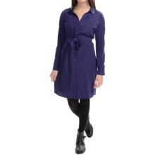 NYDJ Kelsie Washed Poly Shirt Dress - Long Sleeve (For Women) in Midnight - Closeouts