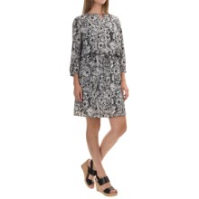 NYDJ Lauren Dress with Removable Shapewear Lining - 3/4 Sleeve (For Women) in Fleetwood Floral Black - Closeouts