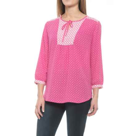 NYDJ Mixed Print Peasant Blouse - 3/4 Sleeve (For Women) in Polynesian Dots/Mali Rose - Closeouts