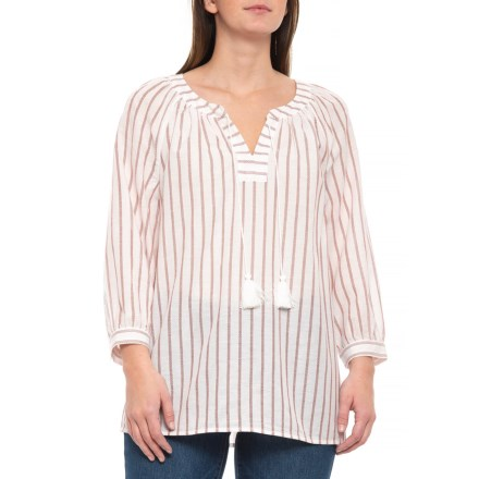 ce006e2dd868a NYDJ Natural Striped Popover Shirt - 3 4 Sleeve (For Women) in Natural