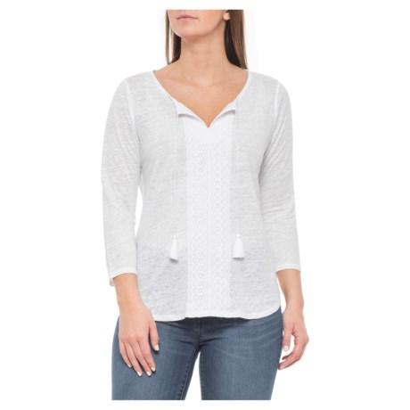 42cc7ccab43c2 NYDJ Optic White Linen Lace Trim Henley Shirt - 3 4 Sleeve (For Women
