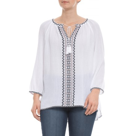 c07850e3c4d11 NYDJ Optic White Black Embroidered Blouse - Long Sleeve (For Women) in Optic