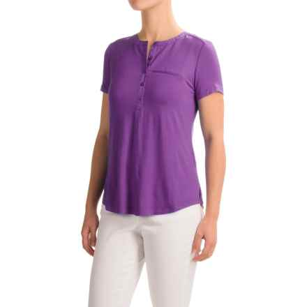 NYDJ Pleated-Back Henley Shirt - Viscose, Short Sleeve (For Women) in Deep Violet - Closeouts