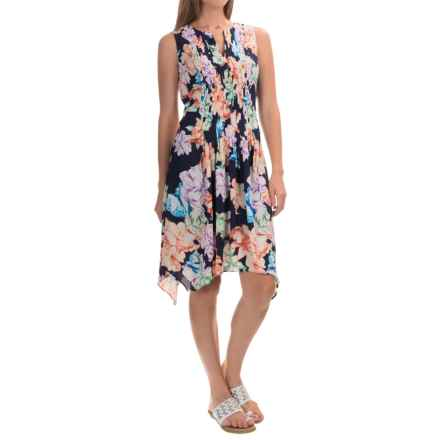 NYDJ Printed A-Line Dress with Built-In Shapewear Lining - Sleeveless (For Women) in Harlequin Mango Passion Floral - Closeouts