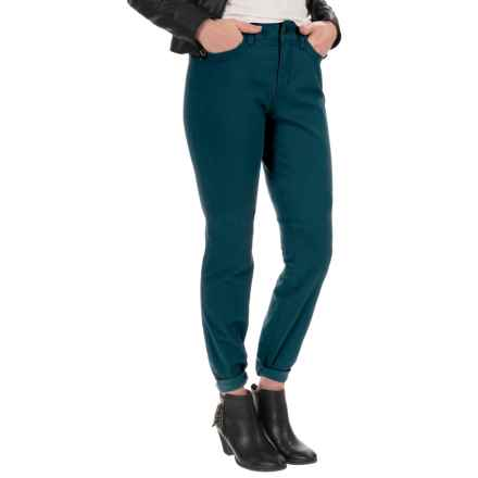 NYDJ Samantha Slim Peached Sateen Pants - Straight Leg (For Women) in Teal Shadow - Closeouts