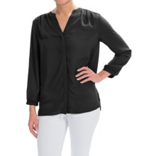NYDJ Solid Pleated Back V-Split Neck Blouse - 3/4 Sleeve (For Women) in Black - Closeouts