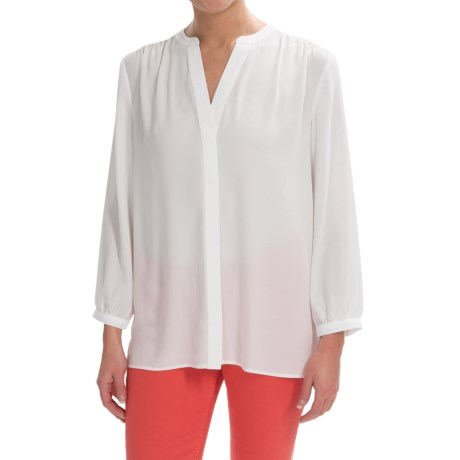 NYDJ Solid Pleated Back V Split Neck Blouse 3/4 Sleeve (For Women)