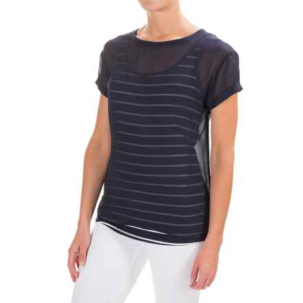 NYDJ Veiled Layers Shirt - Short Sleeve (For Women) in Mediterranean - Closeouts