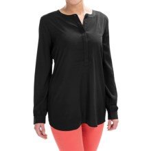 NYDJ Woven Henley Tunic Shirt - Long Sleeve (For Women) in Black - Closeouts