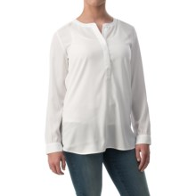 NYDJ Woven Henley Tunic Shirt - Long Sleeve (For Women) in Optic White - Closeouts