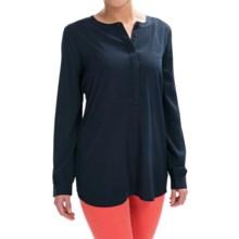 NYDJ Woven Henley Tunic Shirt - Long Sleeve (For Women) in Peacoat - Closeouts