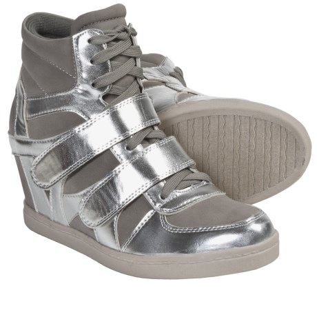 NYLA Blinder Sneakers (For Women) in Silver/Grey