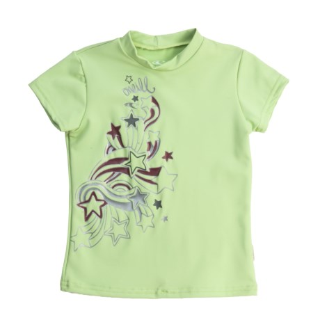 O'Neill Skins Rash Guard Shirt - UPF 50+, Short Sleeve (For Girls) in Light Green Print