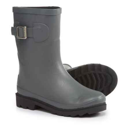 Oaki Buckle Rain Boots - Waterproof (For Boys) in Dark Gray/Black - Closeouts