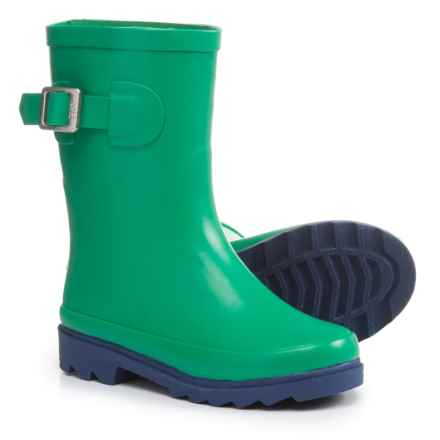 Oaki Buckle Rain Boots - Waterproof (For Boys) in Green/Navy - Closeouts