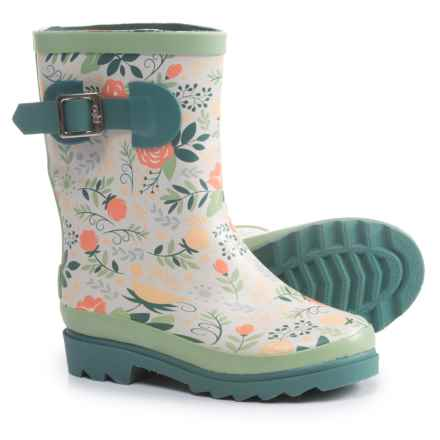 Oaki Buckle Rain Boots - Waterproof (For Girls) in Coral Roses - Closeouts