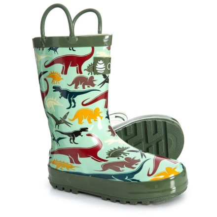 Oaki Earthy Dinosaurs Rubber Rain Boots (For Boys) in Earthy Dinosaurs 7e8912f67d7d
