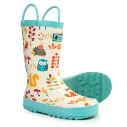 Oaki Loop Handle Rain Boots (For Girls) in Forest Animals - Closeouts