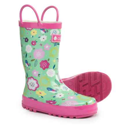 Oaki Loop Handle Rain Boots (For Girls) in Green Floral - Closeouts