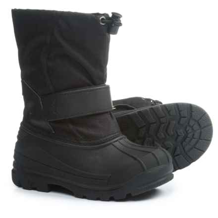 Oaki Touch-Fasten Snow Boots - Waterproof (For Boys) in Stealth Black - Closeouts
