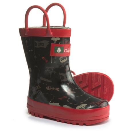 Oaki wear Pirate Treasure Rain Boots - Waterproof (For Boys) in Black/Red