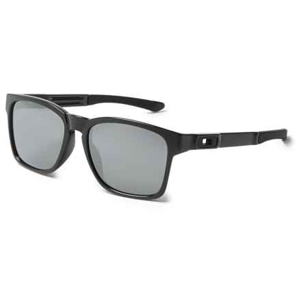 Oakley Catalyst Sunglasses - Iridium® Plutonite® Lenses in Polished Black/Black - Overstock