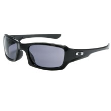 Oakley Fives Squared Sunglasses - Asian Fit in Polished Black/Grey - Closeouts