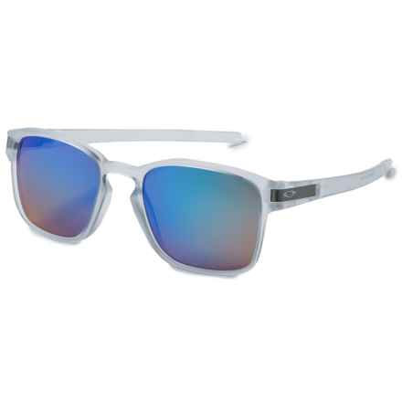 Oakley Latch Square Sunglasses - Polarized Iridium® Lenses in Matte Clear/Sapphire Iridium - Overstock