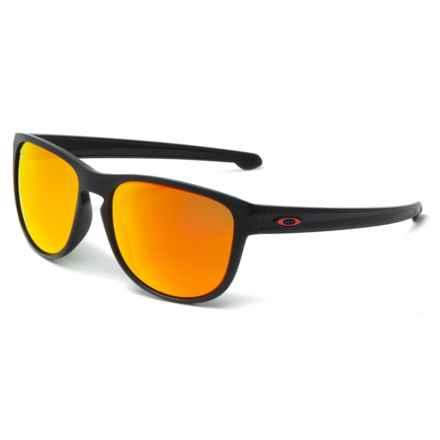 Oakley Sliver Round Moto-GP Sunglasses (For Men) in Matte Black/Prizm Ruby - Closeouts