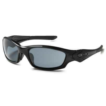 Oakley Straight Jacket Sunglasses - Asia Fit in Polished Black/Grey - Closeouts