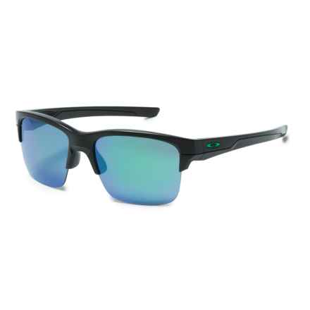 Oakley Thinlink Iridium® Sunglasses - Plutonite®  Lenses in Matte Black/Jade Iridium - Overstock